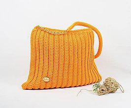 Kabelky - Kabelka háčkovaná veľká Orange beauty - 9205392_