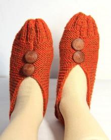 Obuv - vlnené papuče oranžovo-hnedé - 9203156_