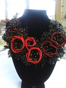 Náhrdelníky - čiernočervená - 9204175_