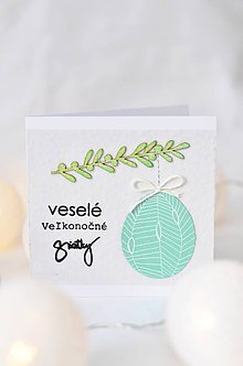 Papiernictvo - Veľkonočná pohľadnica - Vajíčka (Mentolové vajíčko) - 9205381_