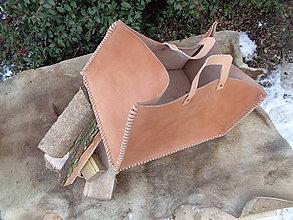 Košíky - Kožený kôš na drevo, remienkovaný - 9204349_