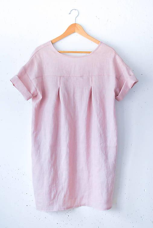 Šaty - Ľanové šaty NORA ružové - 9202337_
