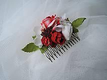 Ozdoby do vlasov - Hrebienok červeno-biely - 9203774_