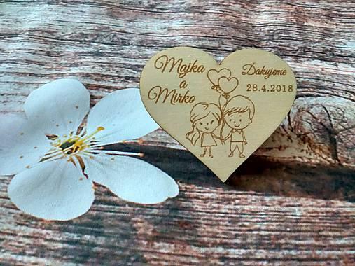 Srdiečko pre hostí 14 - drevená magnetka