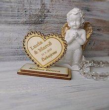Darčeky pre svadobčanov - Drevená magnetka + menovka 2v1 (väčšie) - 9205677_