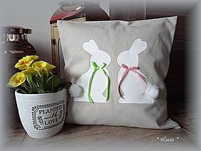 Úžitkový textil - Veľkonočný zajkovia obliečka na vankúš - 9205135_
