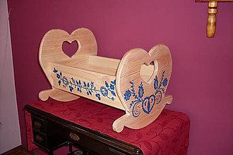 Hračky - drevená kolíska veľká modra - 9204692_