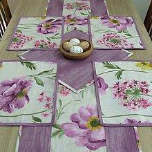 Úžitkový textil - Veľké kvety s fialovým melírom - prestieranie 40x28 - 9204728_