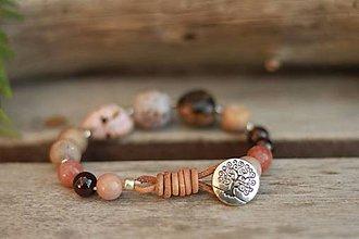 Náramky - Boho náramok z minerálov granát, achát, rodochrozit... - 9201896_