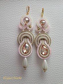 Náušnice - Rita (Ružová-krémová-zlatá) - 9203487_