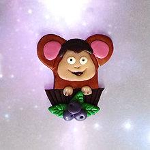 Magnetky - Okydaná zver (s čučoriedkami - opica NA ZÁKAZKU) - 9204984_