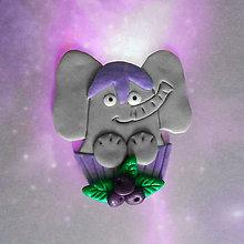 Magnetky - Okydaná zver (s čučoriedkami - slon NA ZÁKAZKU) - 9205636_