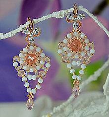 Náušnice - Svadobné náušnice bielo-ružové, Swarovski, mosadzné zapínanie - 9204188_