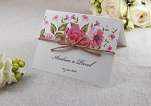 Papiernictvo - Kvetinové svadobné oznámenie so špagátikom - 9208227_