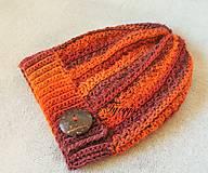 Čiapky - Čiapka - slouchy zelený melír (Oranžová) - 9208285_