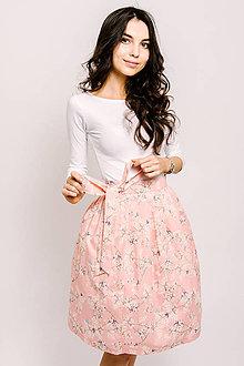 Sukne - Zavinovací sukně Šípková Růžové třešňové květy - 9206443_