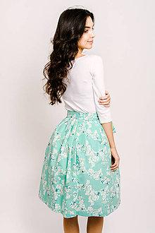 Sukne - Zavinovací sukně Mátové třešňové květy - 9206455_