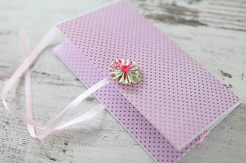 Scrapbook obálka na peniaze - ružová