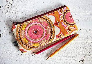 Taštičky - Peračník - mandaly v teplých farbách - 9209072_