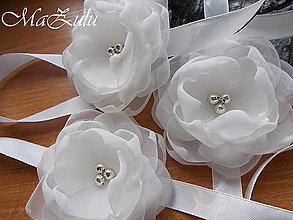 Náramky - svadobné náramky v odtieni ivory so strieborným doplnkom - 9206493_