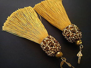 Náušnice - Náušnice strapcové-zlatá-bronz - 9207802_