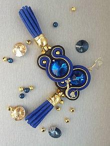 Náušnice - štebotavé strapce - šujtášové náušnice (Modrá) - 9207592_