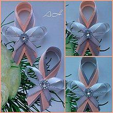 Pierka - svadobné pierko ,, peach & grey ,, - 9206287_