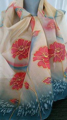 Šatky - červené kvety - 9207620_