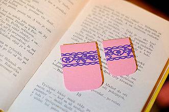 Papiernictvo - Sada magnetických záložiek - ružové s krajkou - 9208869_