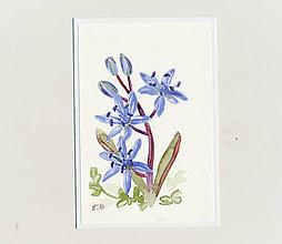 Papiernictvo - Ručne maľovaná pohľadnica - Modrý kvietok - 9208543_