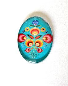 Komponenty - folklorny kaboson - tyrkys kvet - 18x13mm - 9209156_