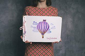 Papiernictvo - Fotoalbum klasický, polyetylénový obal s potlačou teplovzdušného balóna s nápisom, či bez (4 foto na stranu) - 9205937_