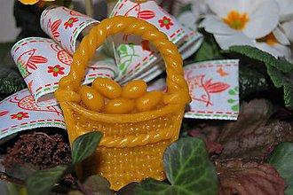 Dekorácie - Veľkonočné ozdoby z včelieho vosku (košíček) - 9210322_