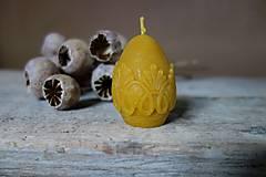 - sviečka z včelieho vosku- vajíčko s čipkou - 9208006_