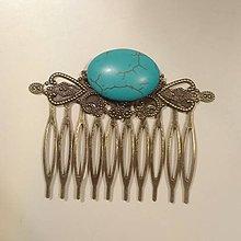 Iné šperky - Hrebienok do vlasov tyrkenit - 9205708_