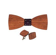 Doplnky - Drevený motýlik a manžetové gombíky - Bubinga - 9209620_
