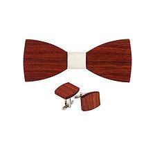 Doplnky - Drevený motýlik a manžetové gombíky - Padouk - 9209688_