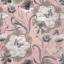 Papier - kvety a vtáčik - 9206750_