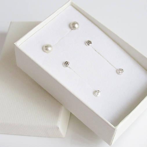 Náušnice - MiniDots - strieborné napichovacie náušnice (Sada 3 páry - výhodné balenie) - 9208768_