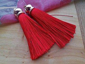 Polotovary - Hodvábne strapce 8 cm - pár (Červená) - 9208669_
