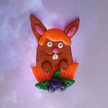 Magnetky - Okydaná zver s čučoriedkami - zajačik NA ZÁKAZKU - 9207132_