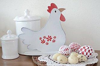 Dekorácie - Biela patinovaná sliepočka veľká - 9213379_