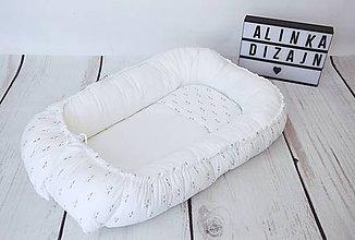 Textil - Hniezdo pre bábätko biele s spinkajúcimi očkami - 9211411_
