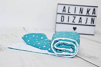 Textil - Minky deka light blue s petrolejovými hviezdami 70*70cm - 9211449_