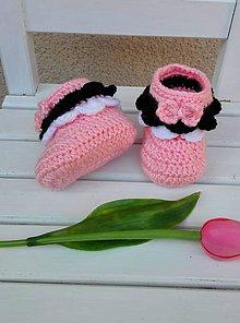 Topánočky - Háčkované Minnie papučky - 9212453_