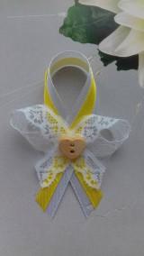 Pierka - svadobné pierko  (biela - žlta) - 9211001_