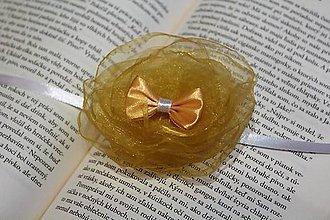 Pierka - Svadobný náramok pre družičku zlatá mašlička - 9215003_
