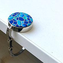 Iné doplnky - Zlatotisk (kamínky modré) - věšáček na kabelku - 9214109_