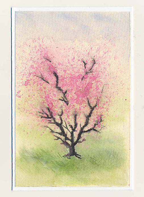 Ručne maľovaná pohľadnica - Rozkvitnutý strom