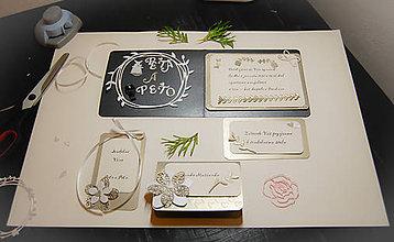 Papiernictvo - čierno bielo zlatá svadobná sada - pozvánka,menovka,vysačka na víno - 9213976_